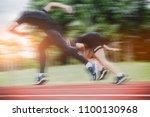 the athlete running a race ...   Shutterstock . vector #1100130968
