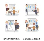 chart board set. people with...   Shutterstock .eps vector #1100135015