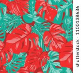 seamless tropical pattern with... | Shutterstock .eps vector #1100138636