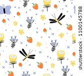 hand drawn floral pattern.... | Shutterstock .eps vector #1100145788