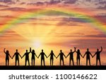 silhouette of a group of happy... | Shutterstock . vector #1100146622