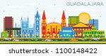 guadalajara mexico skyline with ... | Shutterstock .eps vector #1100148422