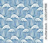 blue seamless nautic wave... | Shutterstock .eps vector #1100149988