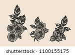 rose vector lace by hand... | Shutterstock .eps vector #1100155175