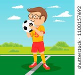 teenager boy with glasses poses ... | Shutterstock .eps vector #1100157692