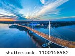 Panorama of Petersburg. Highway. Bridges of Petersburg. Aerial view of St. Petersburg. Panorama of Russian cities. Krestovsky Island.