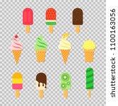 set of ice cream in trandy... | Shutterstock .eps vector #1100163056