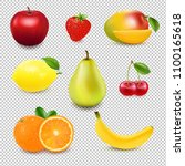 collection fresh fruit and... | Shutterstock .eps vector #1100165618