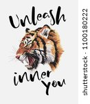 typography slogan with tiger... | Shutterstock .eps vector #1100180222