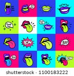 pop art lips seamless pattern.... | Shutterstock .eps vector #1100183222