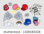comic youth stickers  patches... | Shutterstock .eps vector #1100183228