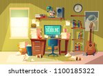 vector cartoon empty home... | Shutterstock .eps vector #1100185322
