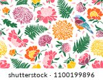 seamless pattern with birds and ... | Shutterstock .eps vector #1100199896