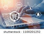 online shopping concept. buy... | Shutterstock . vector #1100201252