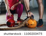 couple is ready for training... | Shutterstock . vector #1100203475