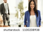 confident businesswoman who is... | Shutterstock . vector #1100208938