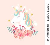white unicorn vector head with... | Shutterstock .eps vector #1100211392