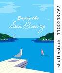 nautical poster concept. blue... | Shutterstock . vector #1100213792