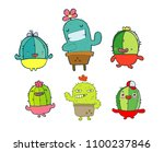 funny cactus  set of cute or... | Shutterstock .eps vector #1100237846