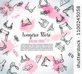lingerie horizontal banners...   Shutterstock .eps vector #1100245058