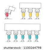 colourful stickmen holding a... | Shutterstock .eps vector #1100264798