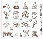 set of science icons  doodles | Shutterstock .eps vector #110026688