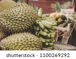 exotic tropical fruits. durian  ... | Shutterstock . vector #1100269292