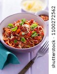 pasta all'amatriciana with... | Shutterstock . vector #1100272562