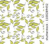leaves seamless pattern vector... | Shutterstock .eps vector #1100289452