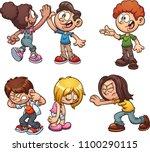 cartoon kids performing... | Shutterstock .eps vector #1100290115
