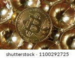bitcoin on abstract background... | Shutterstock . vector #1100292725