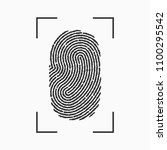 fingerprint icon. print of... | Shutterstock .eps vector #1100295542