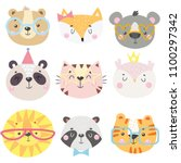 set of cute animals face in... | Shutterstock .eps vector #1100297342