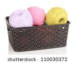 knitting yarn in plastic basket ... | Shutterstock . vector #110030372
