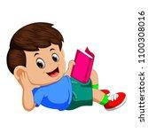 vector illustration of boy... | Shutterstock .eps vector #1100308016