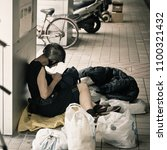 Small photo of TAIPEI, TAIWAN - MAY 19: Homeless man sitting live on camera street Taipei district May 19, 2018. There isn't enough welfare program of Taiwan government to help the poor.
