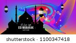 eid mubarak greeting card... | Shutterstock .eps vector #1100347418