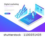isometric flat marketing...   Shutterstock .eps vector #1100351435