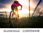 extreme mountain bike sport... | Shutterstock . vector #1100356448