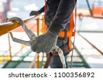 construction worker wearing... | Shutterstock . vector #1100356892