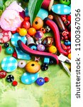 beads  colorful beads for... | Shutterstock . vector #1100367056