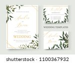 wedding floral golden... | Shutterstock .eps vector #1100367932