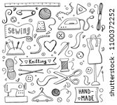 hand drawn set with sewing and... | Shutterstock .eps vector #1100372252