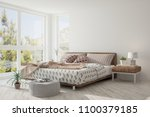 white bedroom with summer... | Shutterstock . vector #1100379185