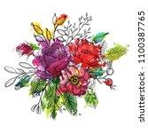 vintage vector floral... | Shutterstock .eps vector #1100387765