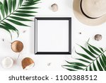 summer composition. tropical... | Shutterstock . vector #1100388512