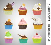 colourful set of cup cakes.  | Shutterstock .eps vector #1100388542