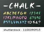 white chalk font design on... | Shutterstock .eps vector #1100390915
