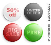 set of glossy sale buttons. 3d... | Shutterstock . vector #1100392232