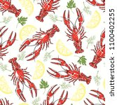 seamless  pattern with crayfish ... | Shutterstock .eps vector #1100402255
